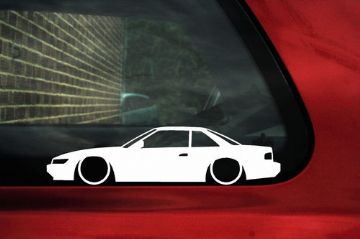 2x LOW Nissan Silvia S13 Coupe JDM outline, Silhouette stickers / Decals